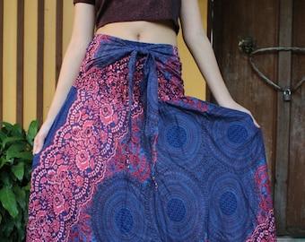 Breezy Boho Maxi Skirt Bohemian Clothing GypsyStyle Boho Chic Pink Rose One Size Fits Blue