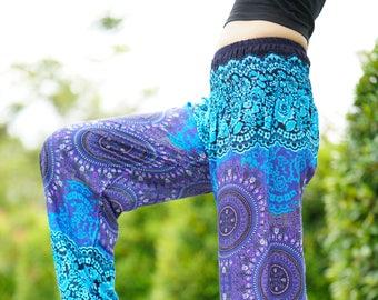 Yoga Pants Hippie Pants Harem Pants Boho Pants Peacock Design in Blue