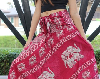 Bohemian Womens Maxi Skirt Boho Long Skirt Gypsy Style Red Elephant One Size Fits