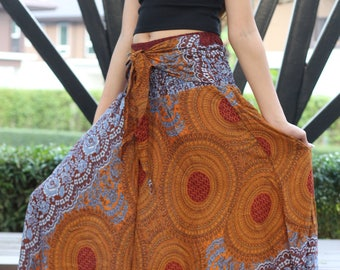 Breezy Gypsy Maxi Skirt Flare Skirt Beach Skirt Boho Chic Boho Clothing Women Blue Rose One Size Fits Brown