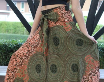 Breezy Boho Maxi Skirt Bohemian Clothing Gypsy Skirt Boho Chic Brown Rose One Size Fits Olive Green Asymmetric hem design