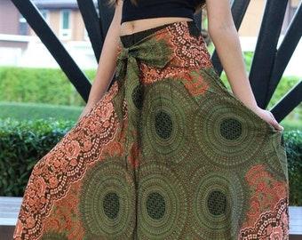 Breezy Boho Maxi Skirt Bohemian Clothing Gypsy Skirt Boho Chic Brown Rose One Size Fits Olive Green Asymmetric hem design
