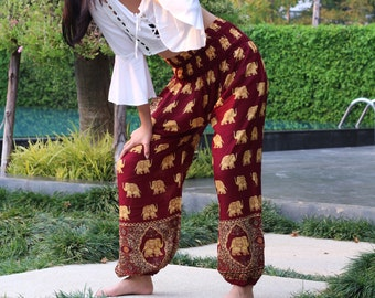 3eab49a523f42 Golden Elephant Pants Hippie Pants Bohemian Clothing Scarlet Red