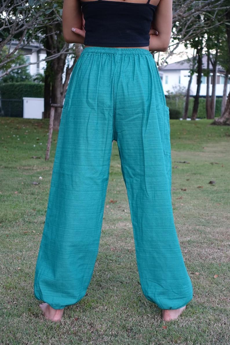 XL-2XL Plus Size Boho Pants Hippie Clothing Loungewear Pajamas Baggy Style Green Tribal Cotton TC