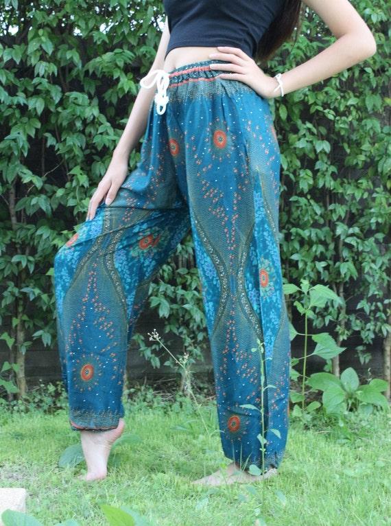 Hippie pantalon Sarouel pantalon de Yoga Boho Chic Bohème vêtements vert paon