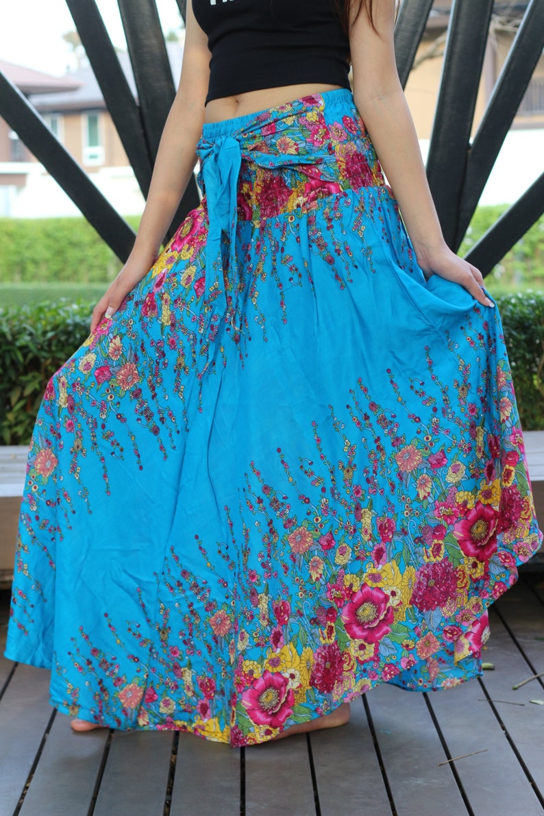 18188987586670 Flower Maxi rok Gypsy Skirt hippie rok één grootte past blauw
