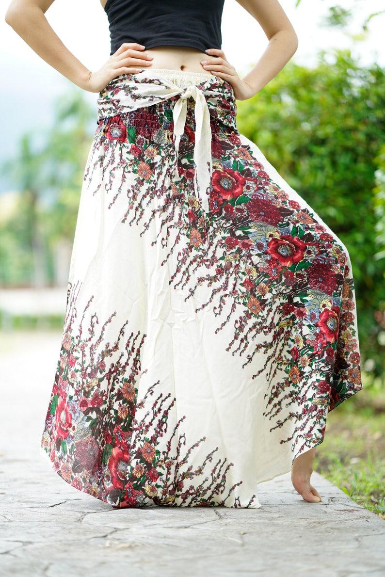 ae52e611b29cdb Bohemien Maxi rok Boho lange rok Gypsy stijl bloem wit One