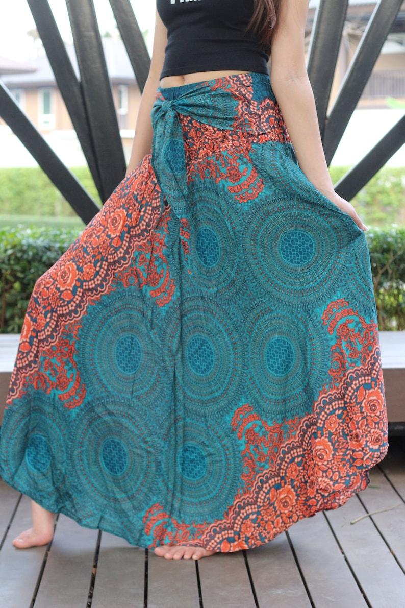33aa91193b8f19 Boheemse rok Gypsy hippie stijl bloem bloei One Size Fits Blue