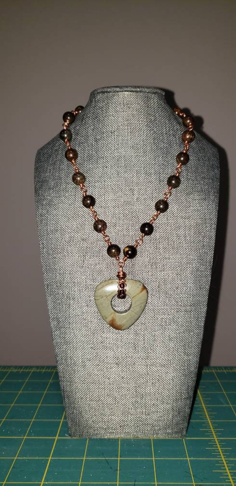 wire-wrapped necklace Bronzite beads and Silver Mist pendant