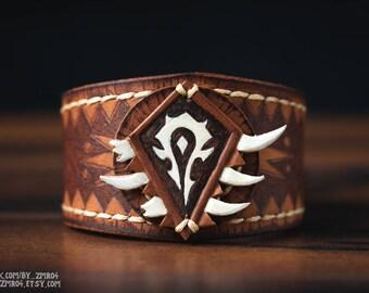 World of Warcraft Horde Orc Leather Brown Cuff Bracelet Bangle. Warcraft Horde Geek Cosplay. Handmade Warcraft Merchandise. Wow Horde Logo