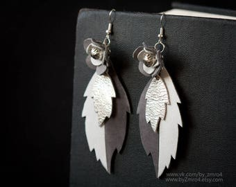 Handmade Leather Earrings, White Grey Earrings, Unique Design, Petals Earrings, Unique Jewelry, Woman Gift