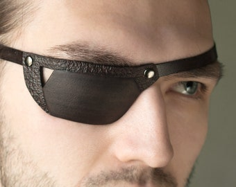 NEW! Leather Eye Patch, Sport Eye Patch, Man Eye Patch, Woman Eye Patch, Black Brown Eye Patch, Slim Eye Patch, Eyepatch