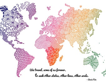 Doodle world map etsy world map wall art colorful world map print hand drawn map wanderlust gift gumiabroncs Gallery