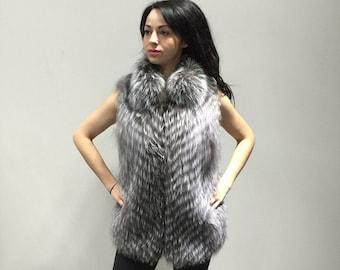 Silver Fox Fur Vest  Full Skin/ Wedding,or anniversary present/ Luxury gift