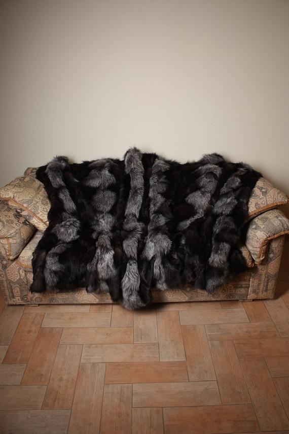 throw blanket personalized blanket Silver fox   fur Tree skirt  Real fur blanket toddler blanket minky blanket luxury blanket