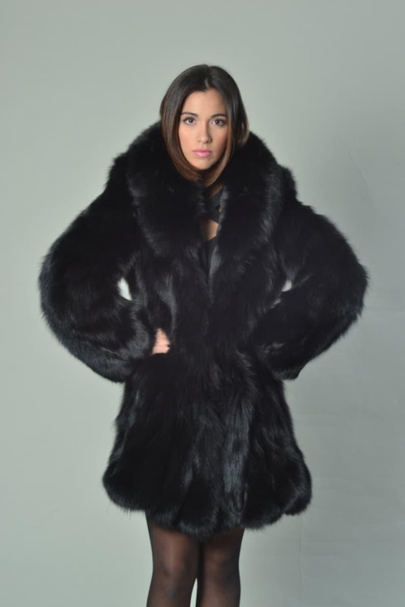 87b77b12452c Black Fox Fur Coat Knee length Plus Size Coat Real Fur Coat | Etsy