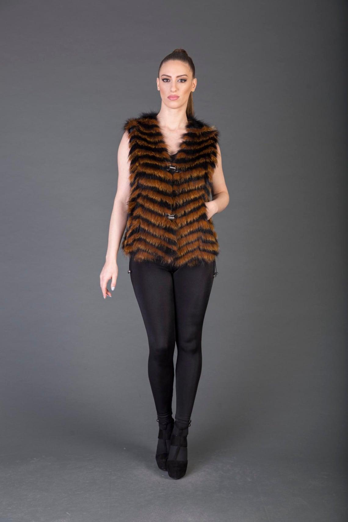 Luxury Gift/racoon Fur Vest/fur Jacket Full Skin / Wedding,or Anniversary Present