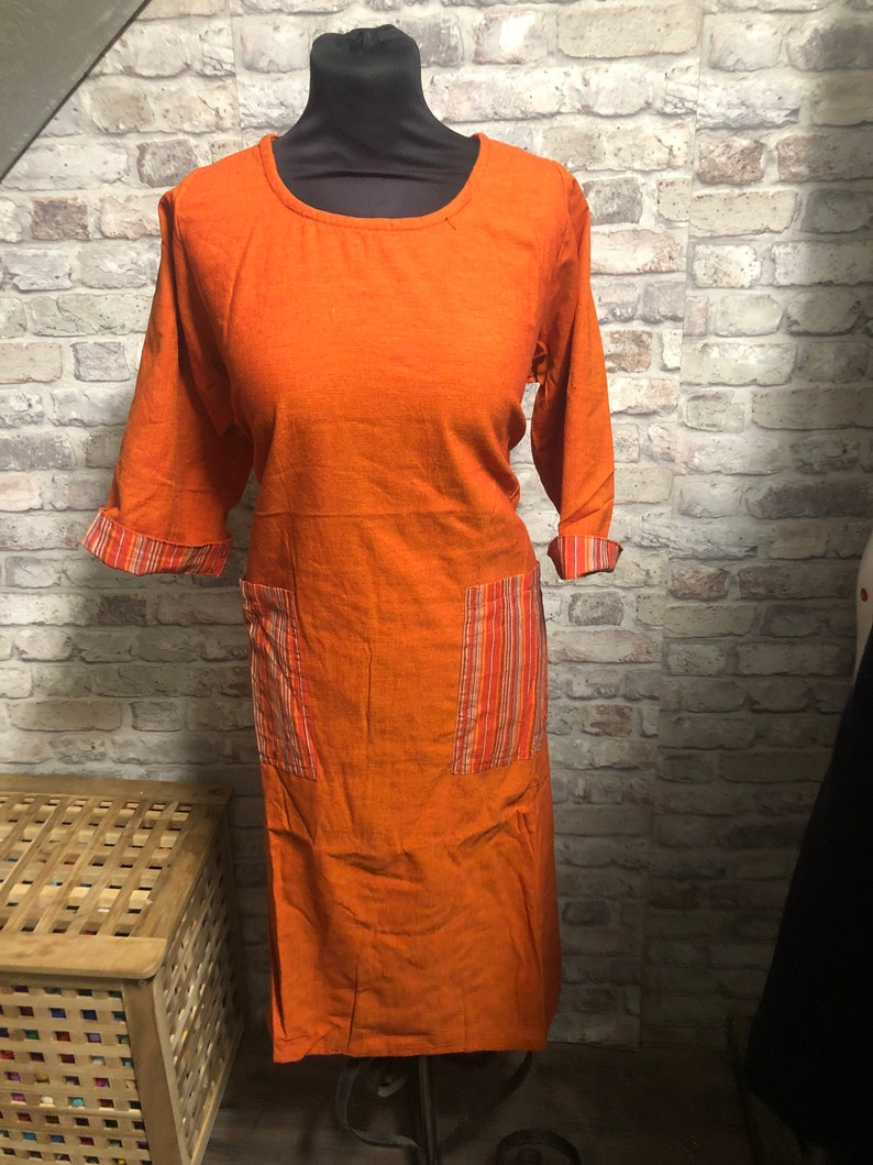Cotton baggy loose one size  dress One size and plus size .U.K 16 12  U.K