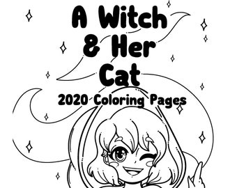 10 Digital Coloring Pages A Witch and her Cat Coloring Book