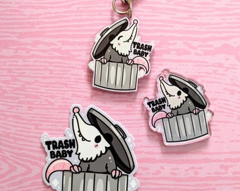 Trash Baby Possum 2in Acrylic Charm DOUBLE SIDED and 3inch Vinyl Sticker