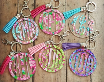 Lilly Pulitzer Inspired Monogram Keychain, Monogram Keychain, Bridesmaid Gift Keychain, Tassel Keychain, Gifts for Her