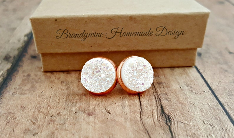Rose Gold Druzy Earrings-White Druzy-Rose Gold Earrings-Druzy image 0