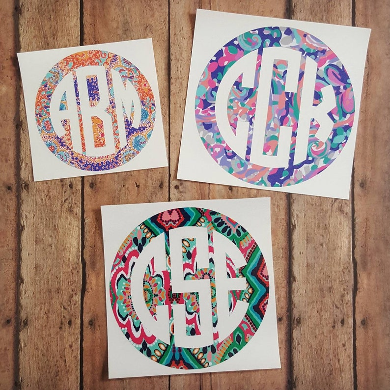 Lilly Pulitzer Monogram Decal Circle Monogram Monogram Car image 0