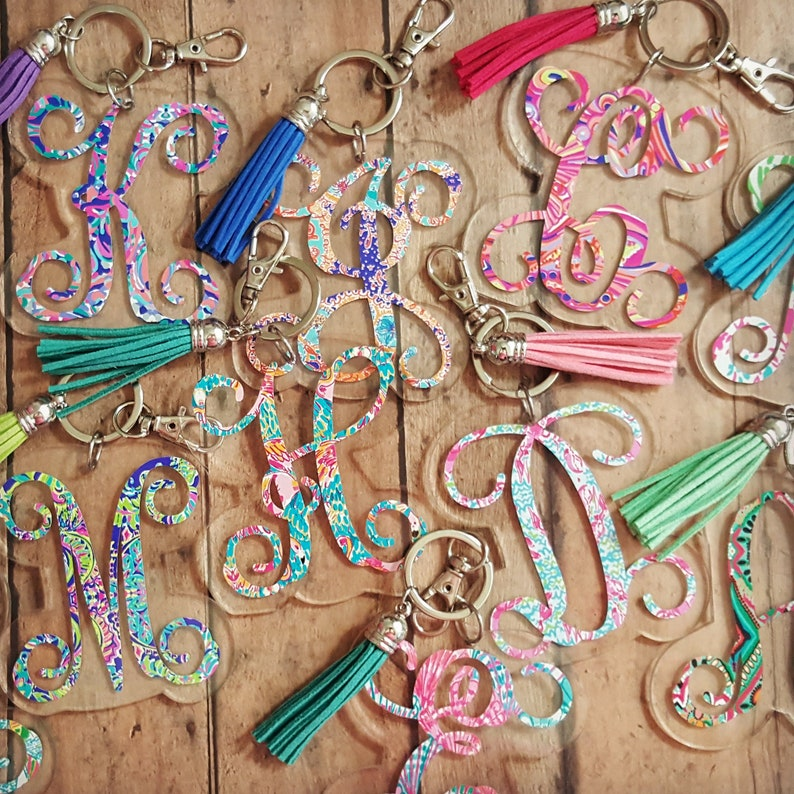 Lilly Pulitzer Inspired Key Chain Monogrammed Keychain image 0