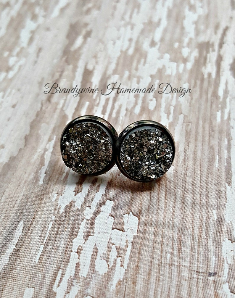 Druzy Earrings 12 mm Druzy Druzy Studs Gunmetal Earrings image 0