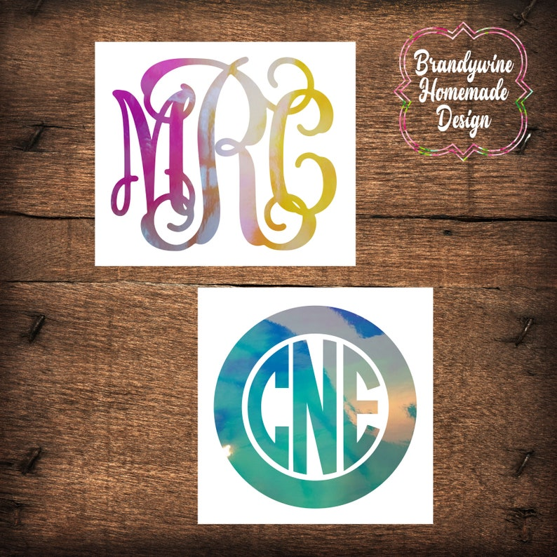 Holographic Monogram Decal Opal Decal Yeti Decal Car Decal image 0