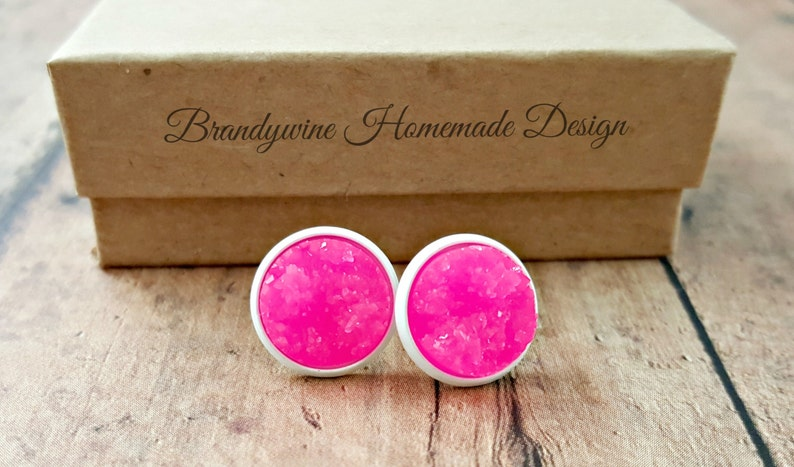 Hot Pink Druzy Earrings in White Setting Round 12mm image 0