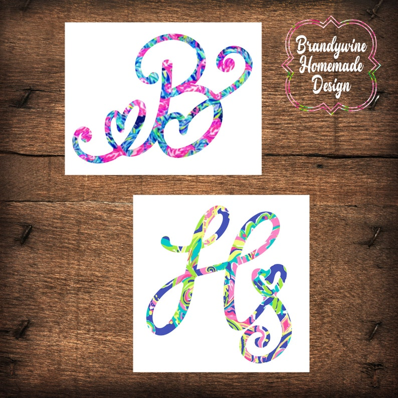 Lilly Pulitzer Heart Letter Monogram Decal Yeti Decal Car image 0