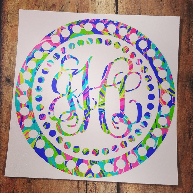 Lilly Pulitzer Monogram Decal for your Car Phone Cooler image 0