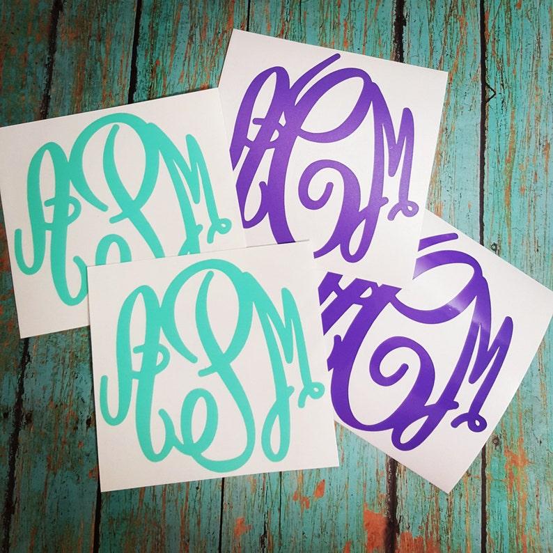 Monogram Decal  Monogram Sticker  Glitter Monogram  Solid image 0