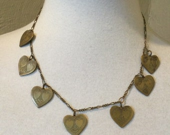 Rustic Brass Heart and Blush Pink Crystal Handmade Pendant Necklace Gift Under 15