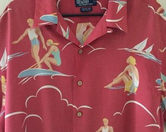bcd9a1403 Vintage Polo Ralph Lauren Hawaiian Shirt 90s / Surfing Men & Women Design / Polo  Aloha Shirt / Coral Salmon Turquoise Blues Yellow / Tag XL