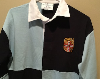 2eec5d25 Vintage University of Cambridge RUGBY SHIRT / Navy Blue & Pale Blue / Large Color  Block Design / Tag M / Embroidered Crest / Preppy