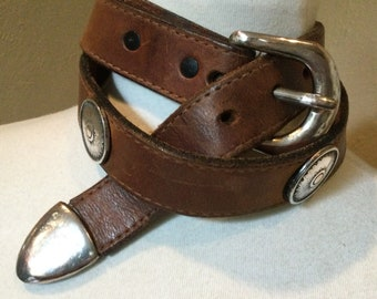 Vintage Wide Leather Belt made in Italy 1980/'s