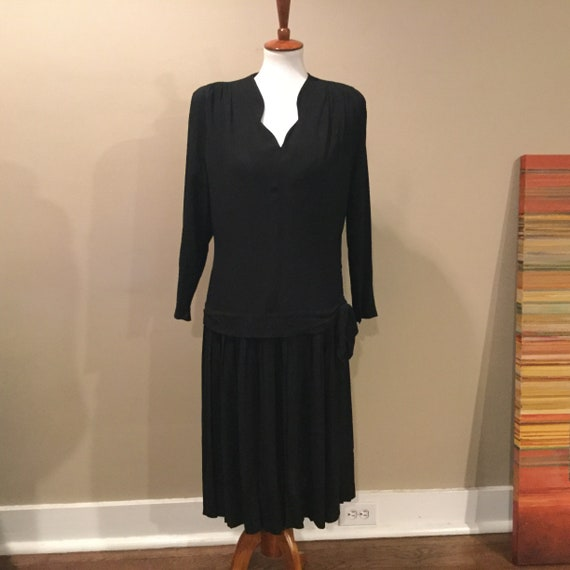 Vintage 40s Rayon Crepe Black Cocktail Dress  / 19