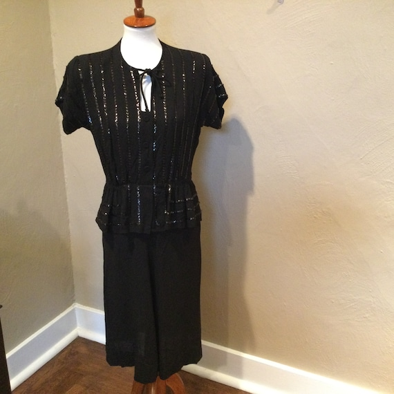 Vintage 1940s Black Crepe Sequin Dress / Peplum Se