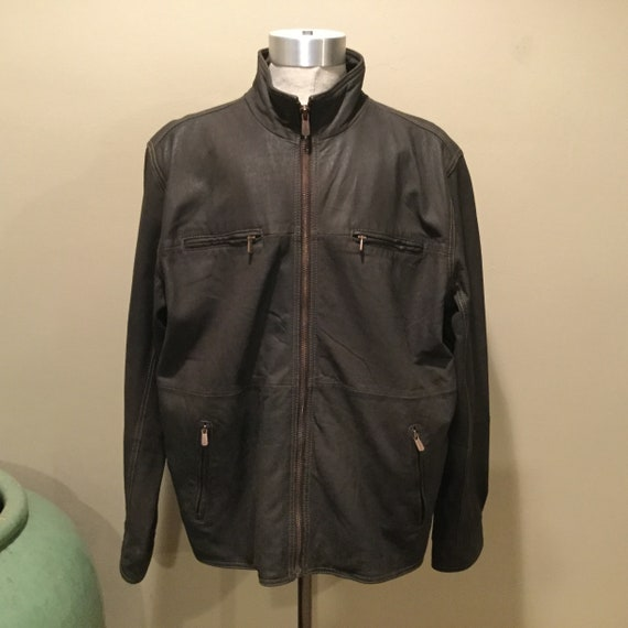 SALE,Mens Brown Leather Zippered Racing Style Jack