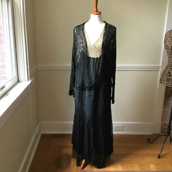 Antique Dress 1900s 1920s Black Lace & Silk George