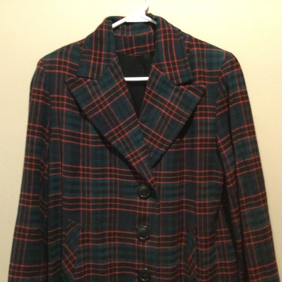 1940s Green Red Tartan Plaid Coat / Nat Gordon Vin