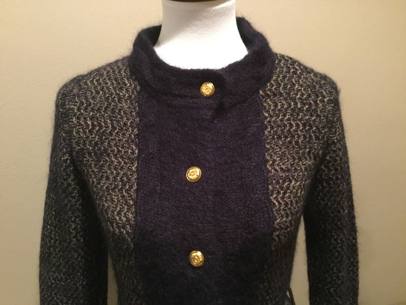 CHANEL CARDIGAN SWEATEr   Wool Mohair Knit Belted Gold CC  17ab1acbc