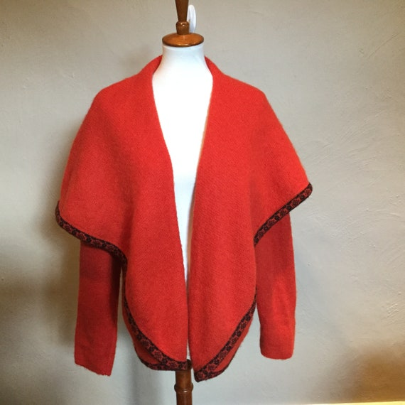 Vintage PELLINI Red Mohair Cape Sweater / Euro 40