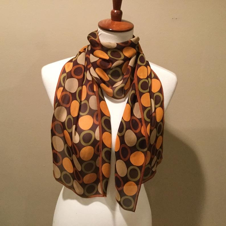 e6200de1b10 Vintage Adrienne Vittadini Silk Print Scarf / 80s Circle Print / Earthy  Colors Copper Orange Brown Taupe / Designer Silk Scarf / 57