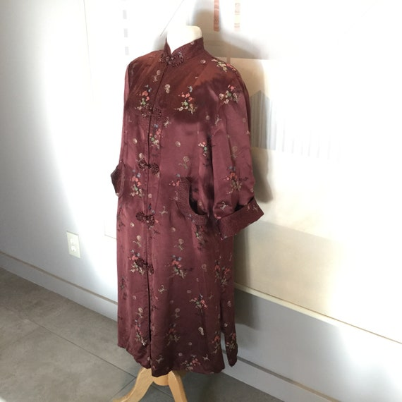 SALE,Vintage Asian Satin Embroidered Quilted Robe