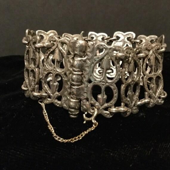 Vintage Sterling Ethnic Panel Bracelet / Open Cut