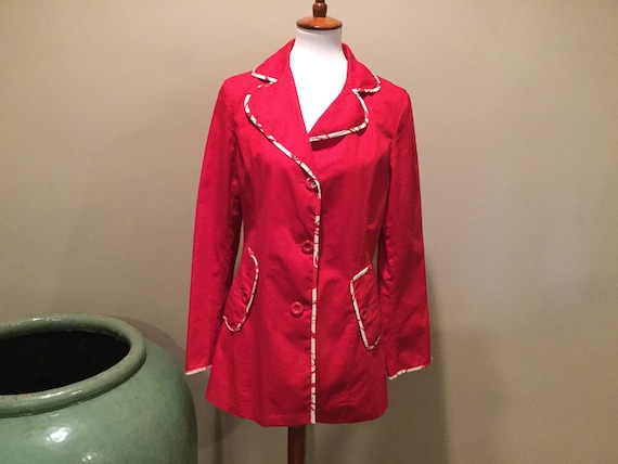 SALE,Womens LONDON FOG Red Trench Jacket / London