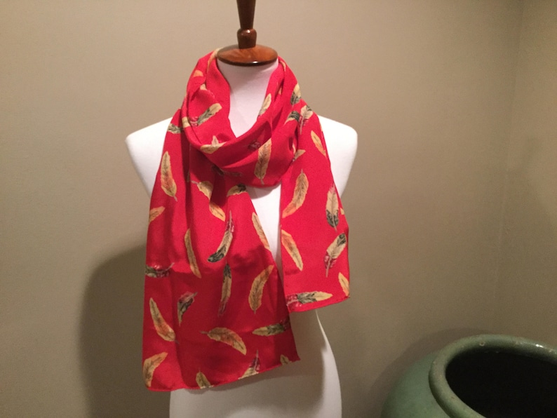 580eedfc1f4 CHARLOTTE SPARRE Silk Scarf / Danish Designer Silk Scarf / Red With  Floating Gold Leaves / Denmark 100% Silk / Hand Rolled Borders / 62 x 14